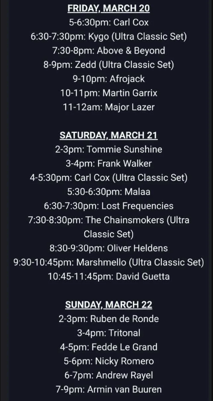 SiriusXM timetable