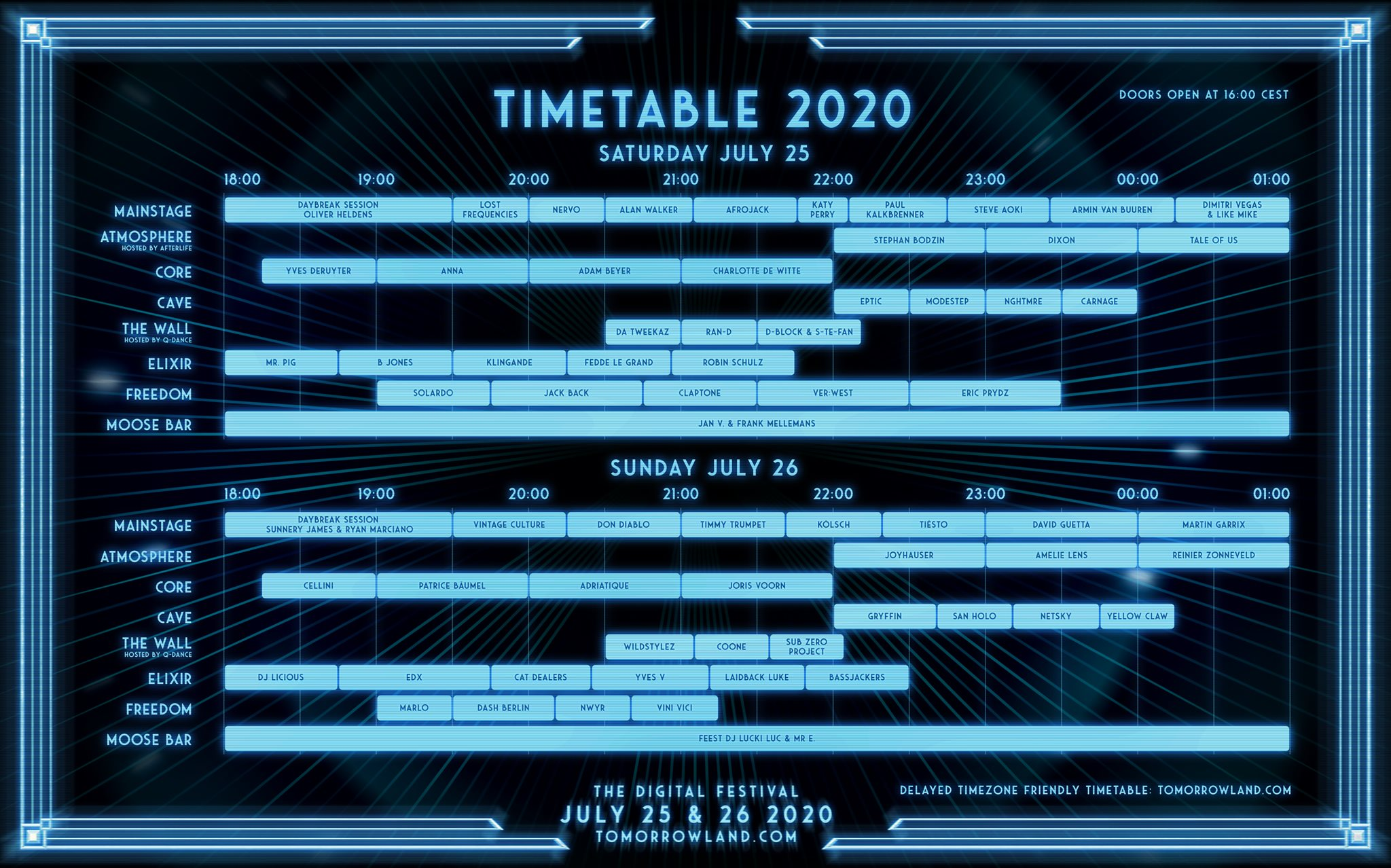 Timetable Tomorrowland